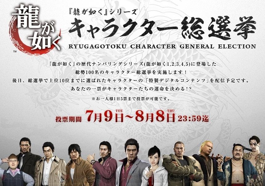 『龍が如く』シリーズの登場人物たち総勢100名によるキャラクター総選挙が8月8日まで開催! 上位10名には特製デジタルコンテンツを配信