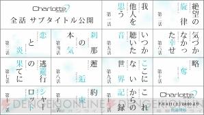 TVアニメ『Charlotte』全話サブタイトルを先行公開! 本日7月4日24時 ...